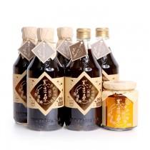 非基因改造醬油醬料【黑豆桑】手工美味三寶組(金豆醬油x2+缸底醬油x3+美味辣豆瓣x1)
