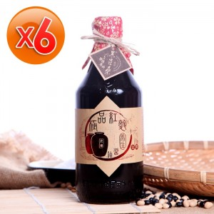 溫國智郁方推薦-美味非基改天然醬油【黑豆桑】天然極品養生紅麴醬油6瓶