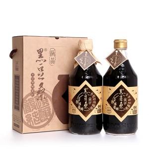 非基改天然靜置釀造醬油-【黑豆桑】經典禮盒(金豆醬油x1+缸底醬油x1)