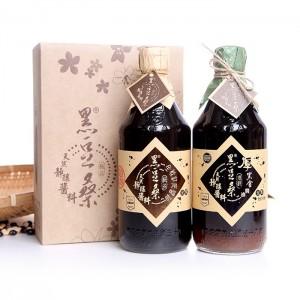 【黑豆桑】非基改天然靜置釀造醬油-滷香禮盒(缸底醬油x1+厚黑金醬油x1)