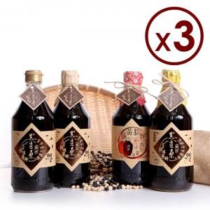 非基改靜釀醬油【黑豆桑】頂級四大天王組(金豆醬油x3+缸底醬油x3+黑金醬油x3+紅麴醬油x3)