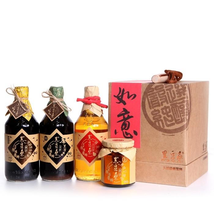 【黑豆桑】豪華家庭禮盒(黑金1+厚黑1+蘋果淳1+豆瓣1)