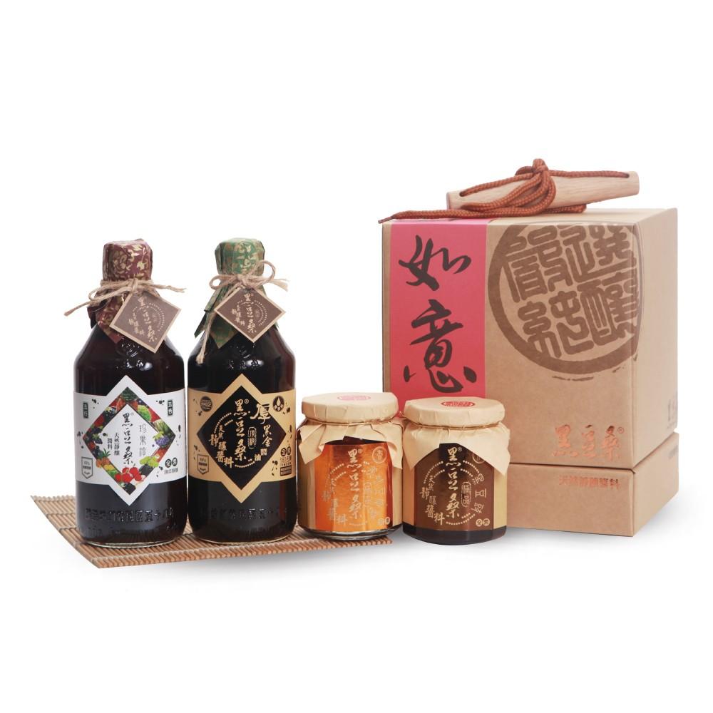 【黑豆桑】頂級家庭必備禮盒組(厚黑金+珍果淳+黑豆豉+豆瓣醬)