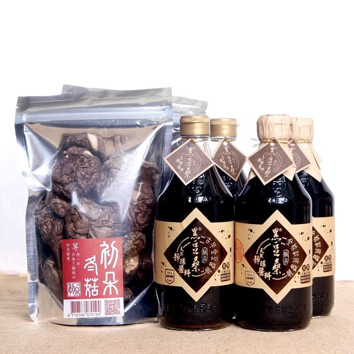 【黑豆桑】醬香菇味組(金豆醬油2瓶+缸底醬油2瓶+初朵冬菇2包)