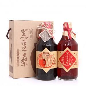 天然美味靜置釀造醬油-【黑豆桑】養生美味禮盒(紅麴醬油x1+蘋果淳x1)